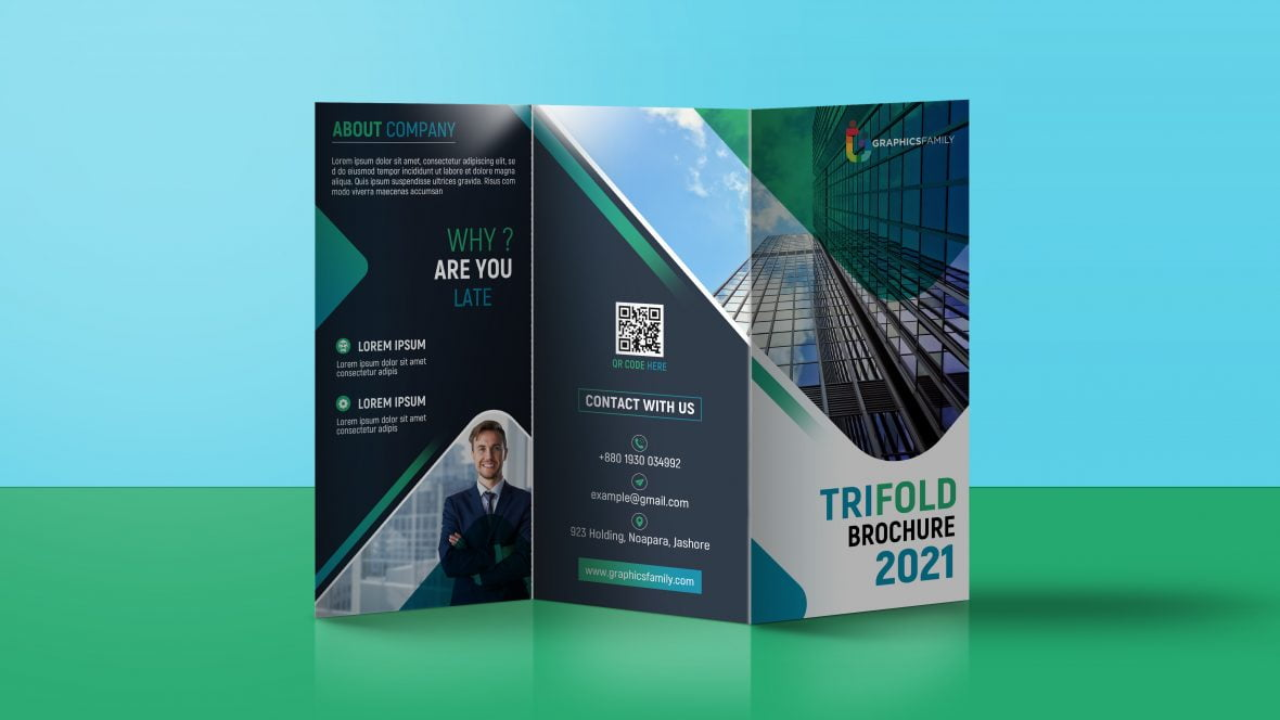 Editable Company Trifold Brochure Design Template by GraphicsFamily