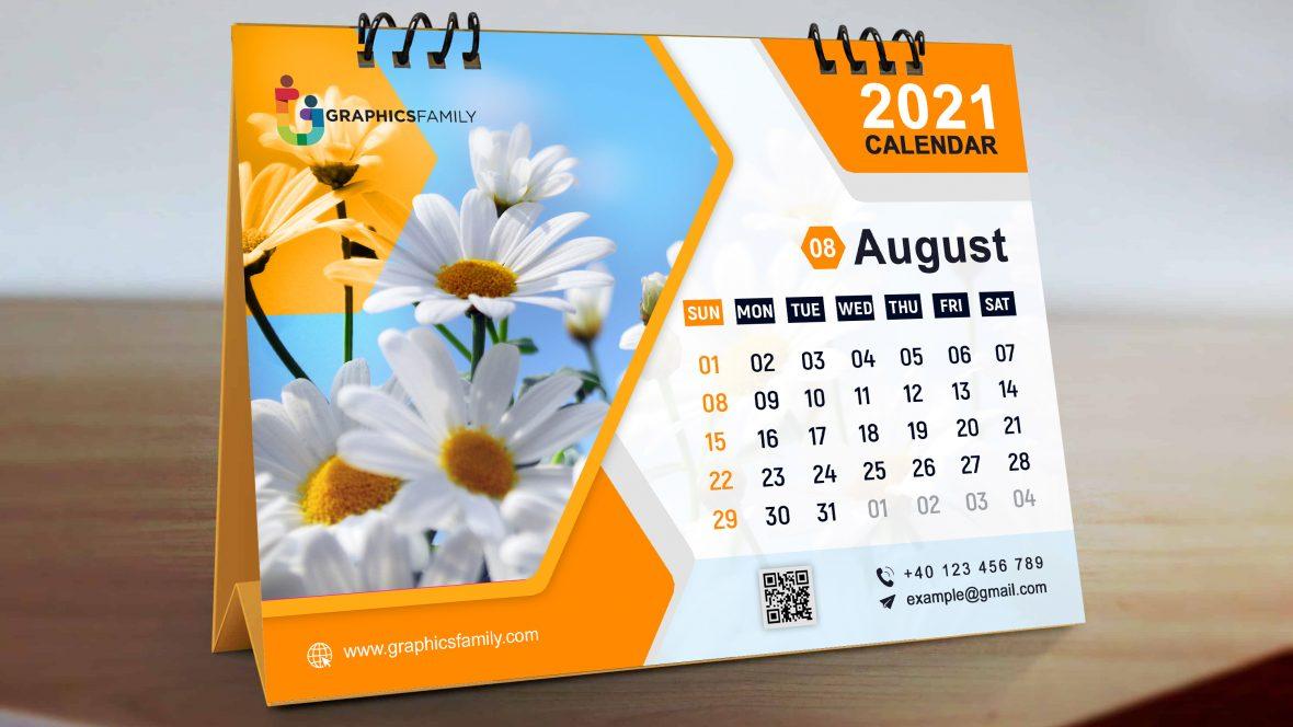 Editable Orange Calendar Design PSD Template