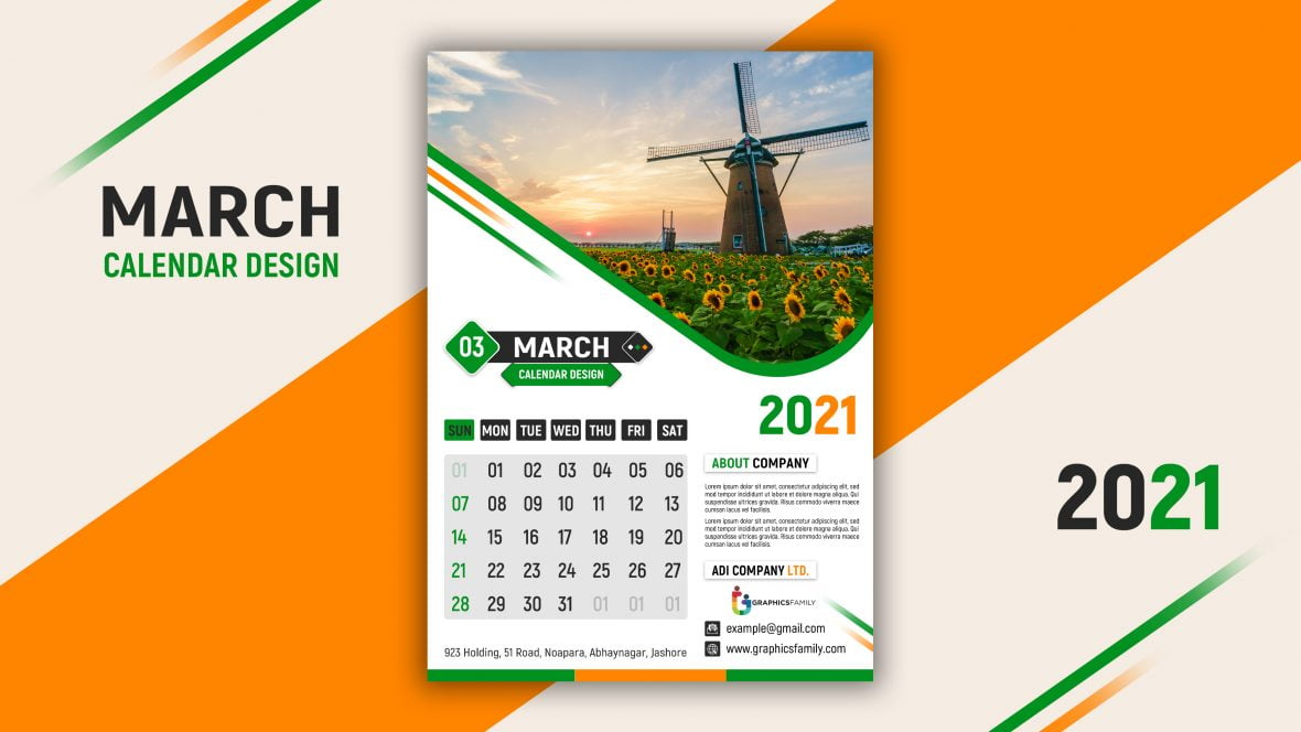 Free Calendar Design PSD Template