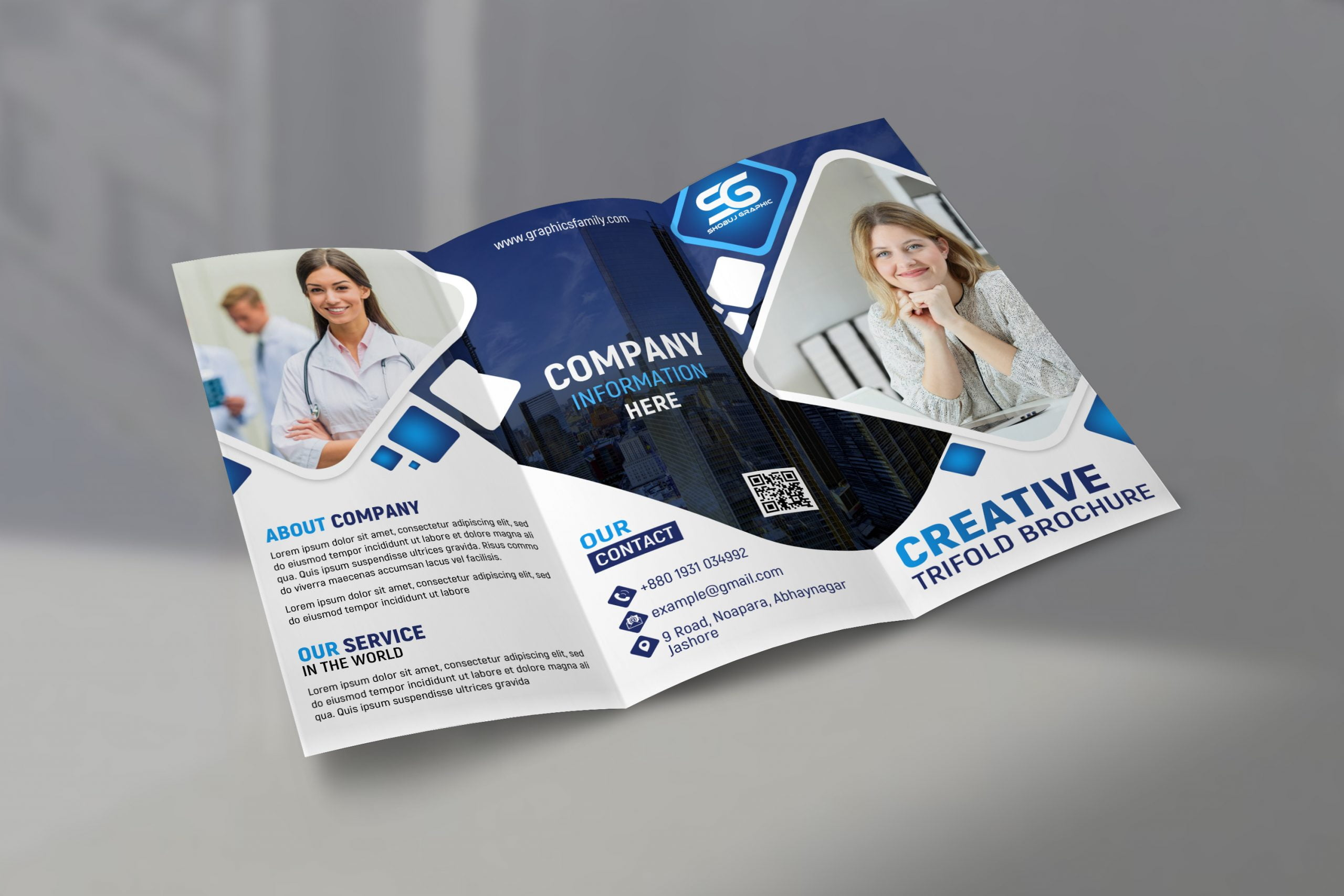Free Company Promotion Trifold Brochure Design Template by GraphicsFamily