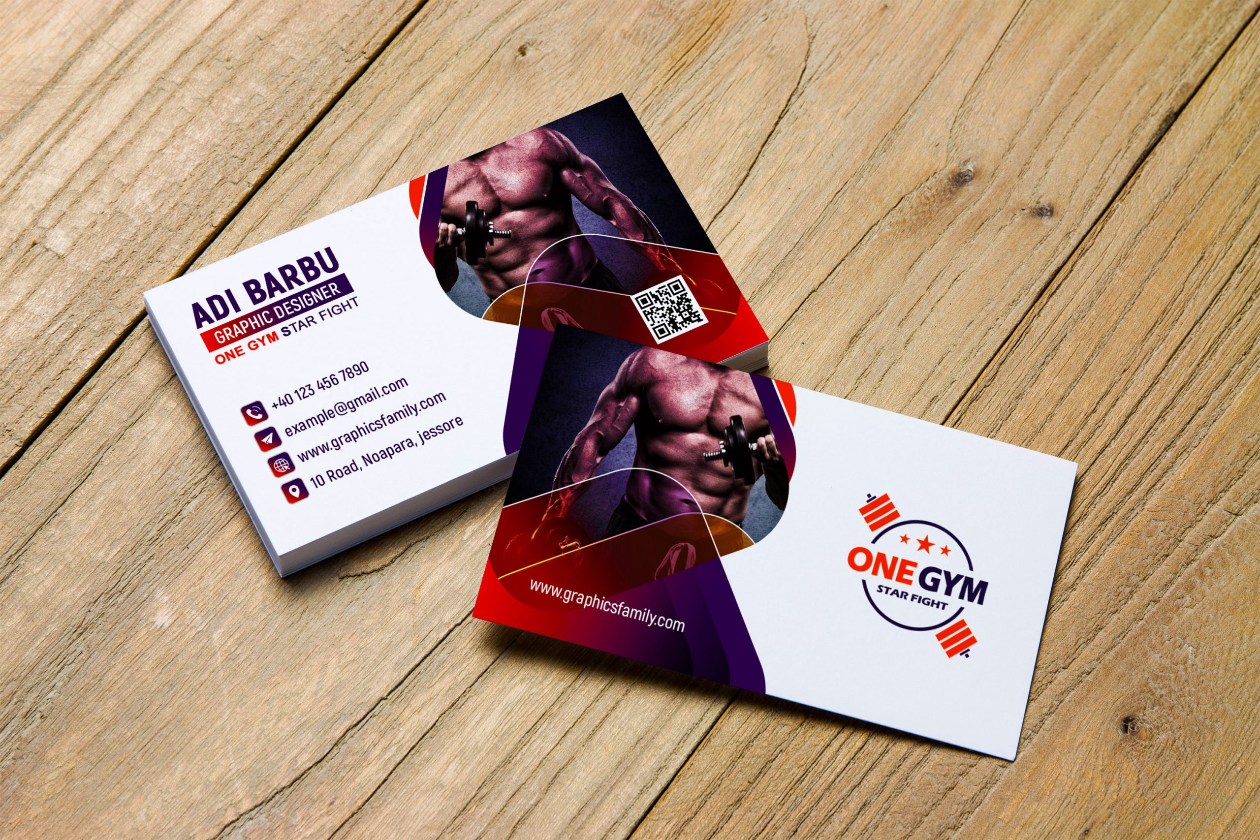 Free Download Modern Fitness Personal Trainer with Photo Business Card Design