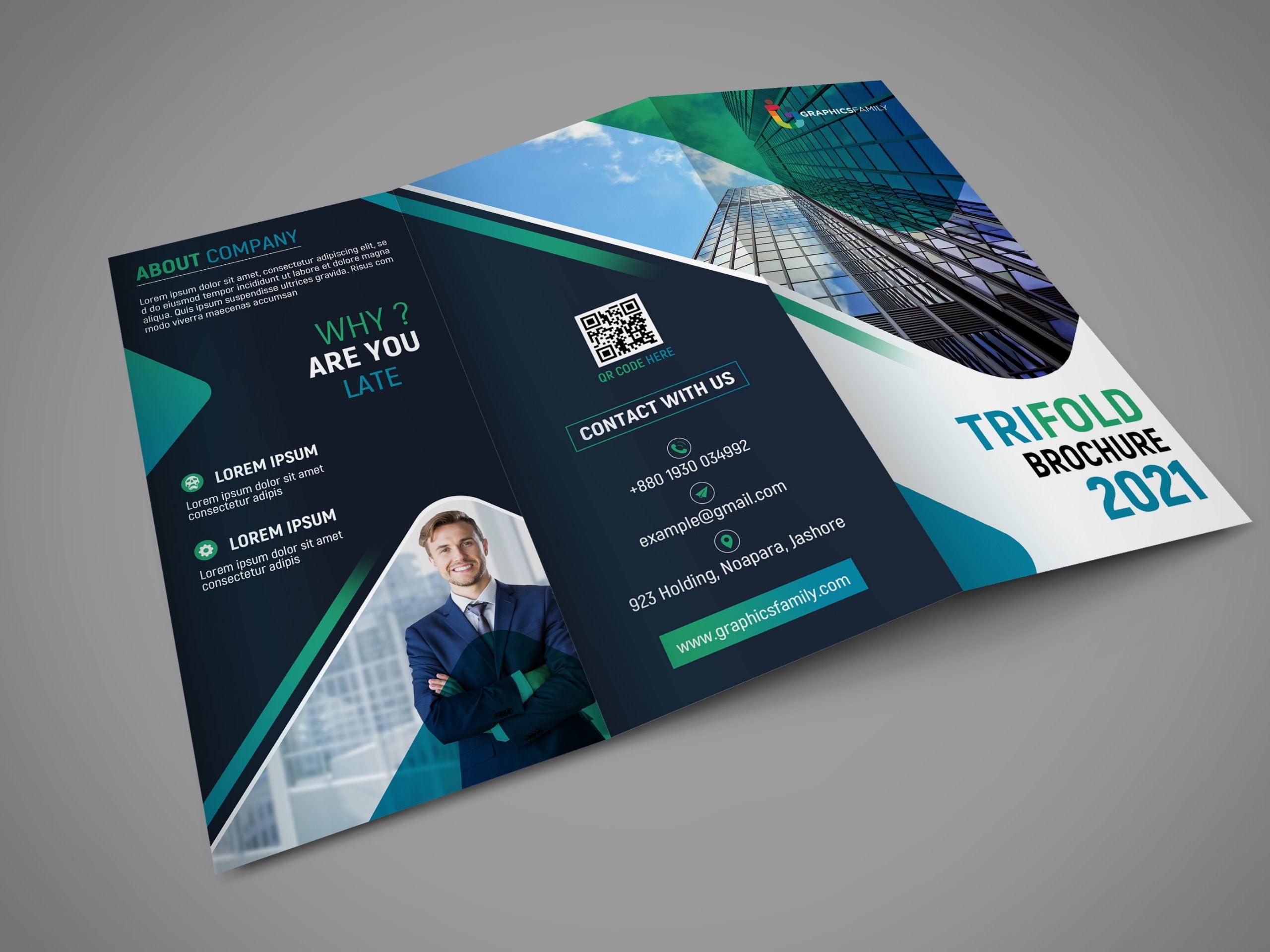 Free Editable Company Trifold Brochure Design Template