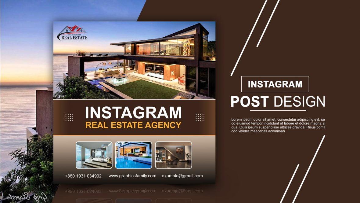 Free Instagram Post Design for Real Estate Agency