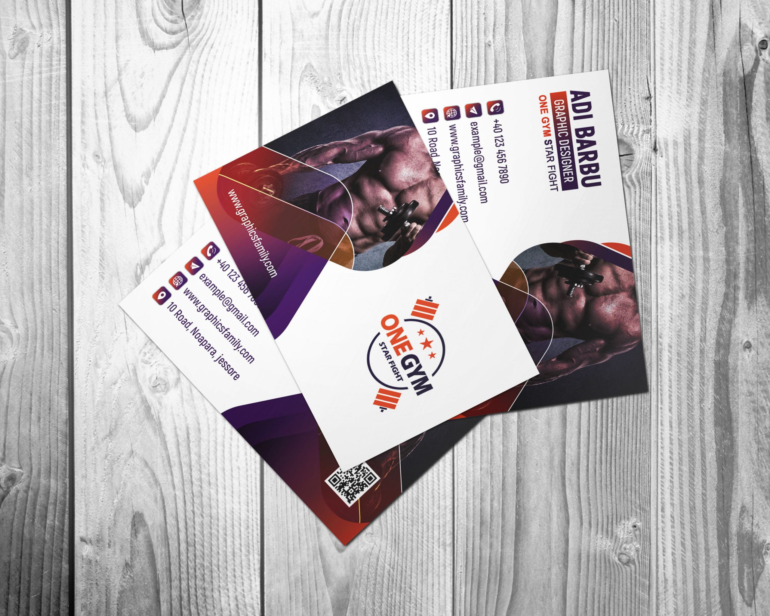 Free Modern Fitness Personal Trainer with Photo Business Card Design