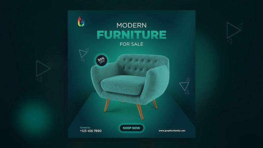 Free Modern Furniture Social Media Post Design Template