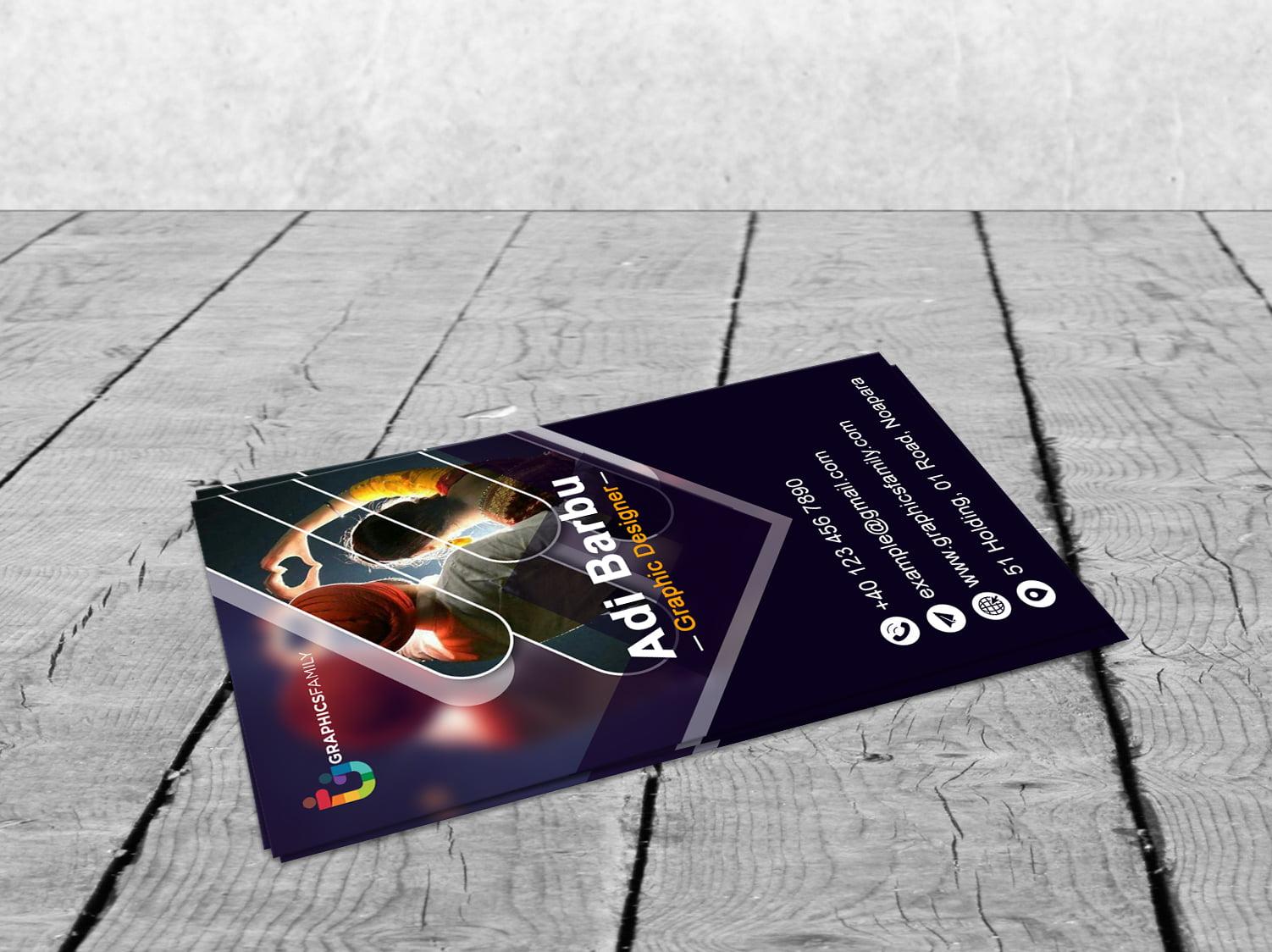 Free Modern Vertical Visiting Card Design