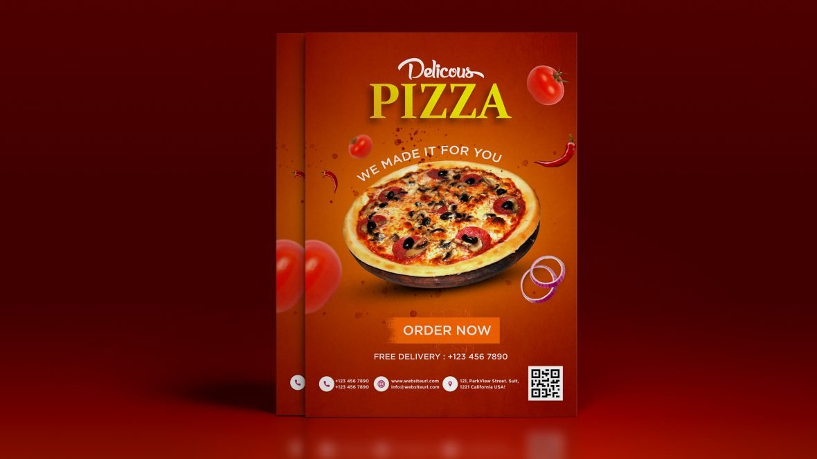 Free Pizza A4 Flyer Design Template