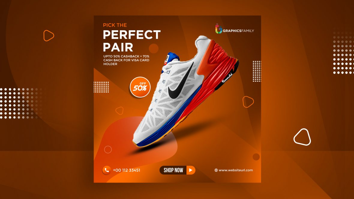 Free Sports Running Shoes Banner Design