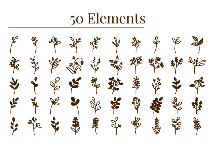 Hand drawn floral decorative elements free vector download