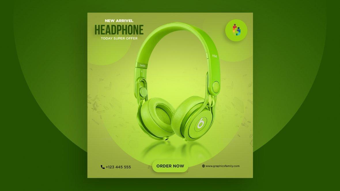 Headphones Social Media Post Design Template