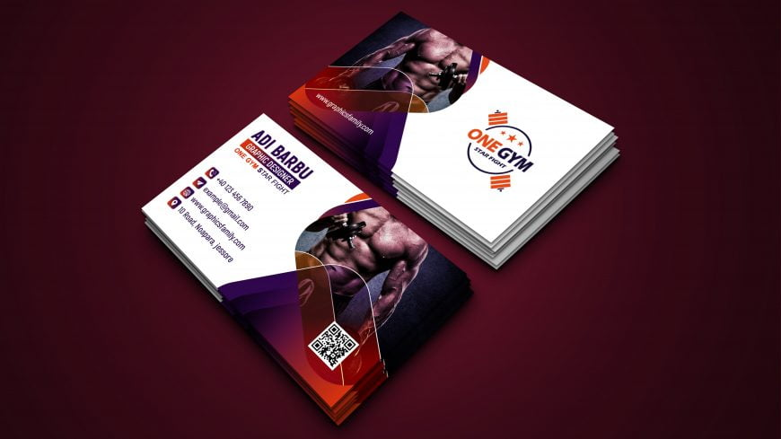 Modern Fitness Personal Trainer with Photo Business Card Design