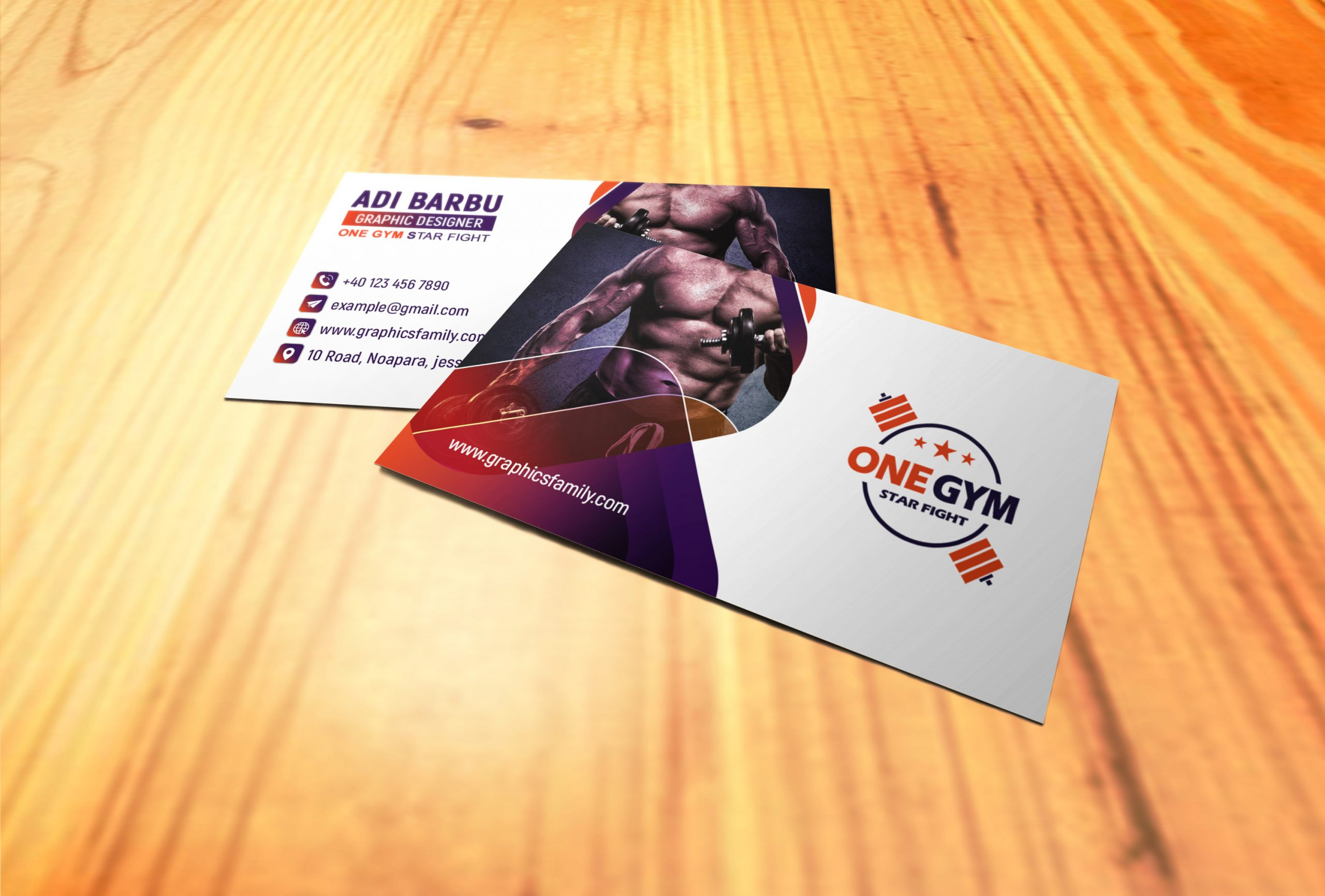 Modern Fitness Personal Trainer with Photo Business Card Design Download