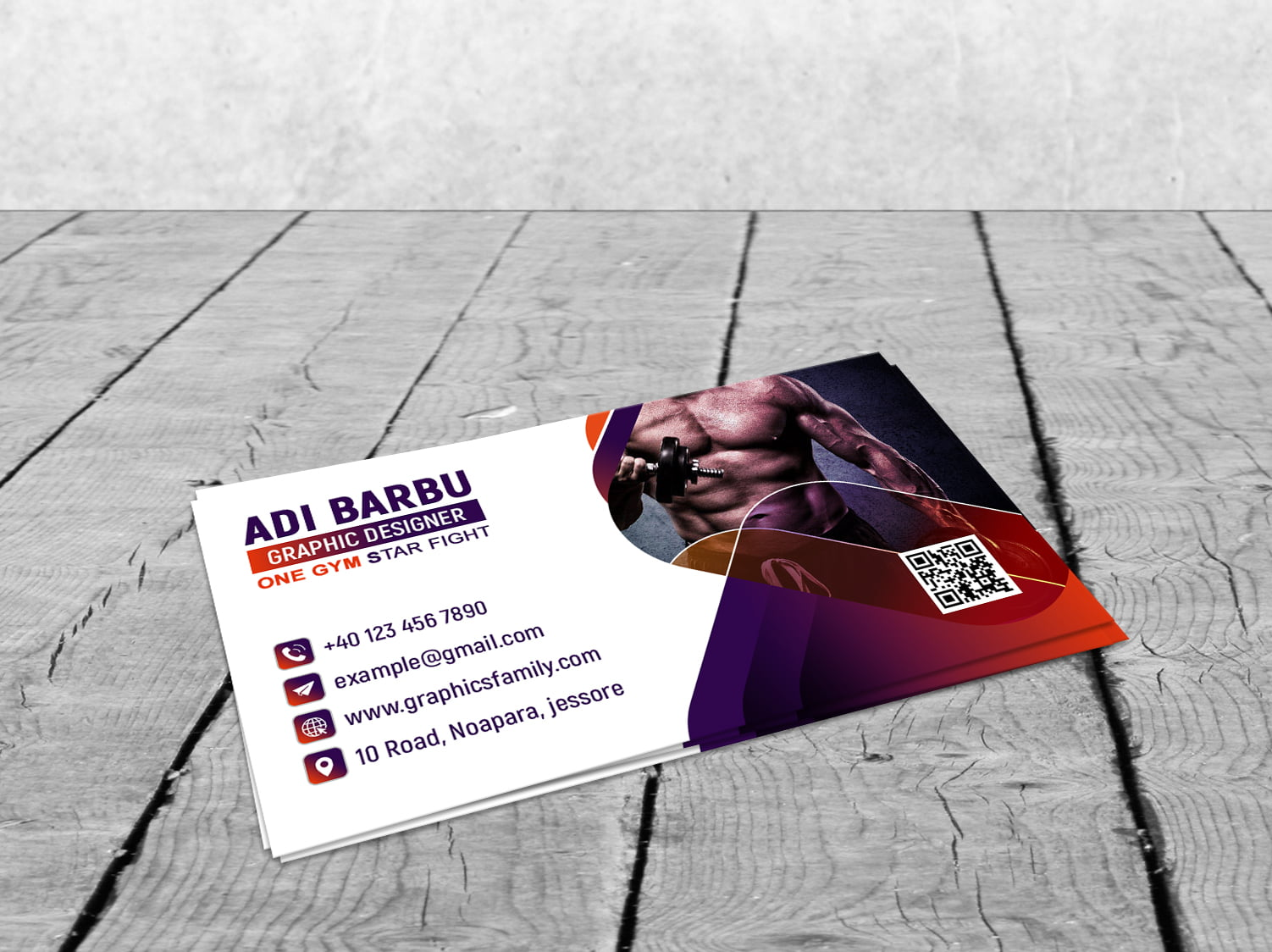 Modern Fitness Personal Trainer with Photo Business Card Design Template