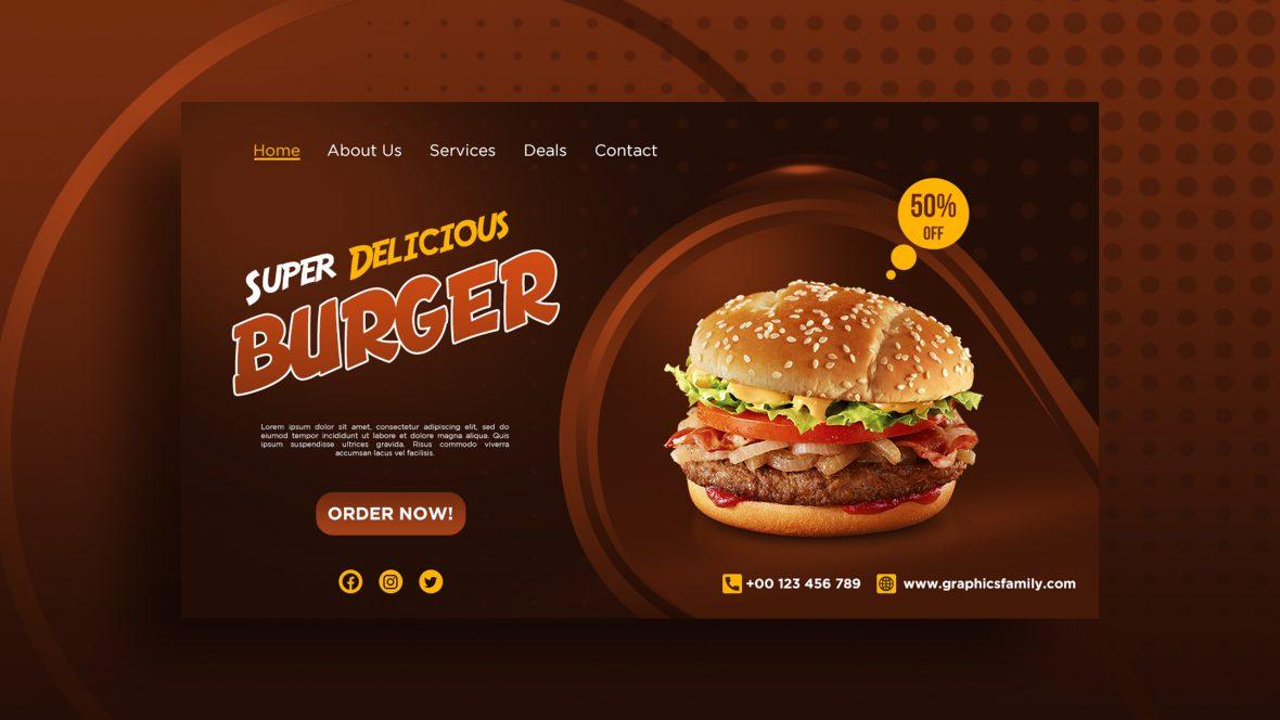 Professional Burger Banner Design Free PSD