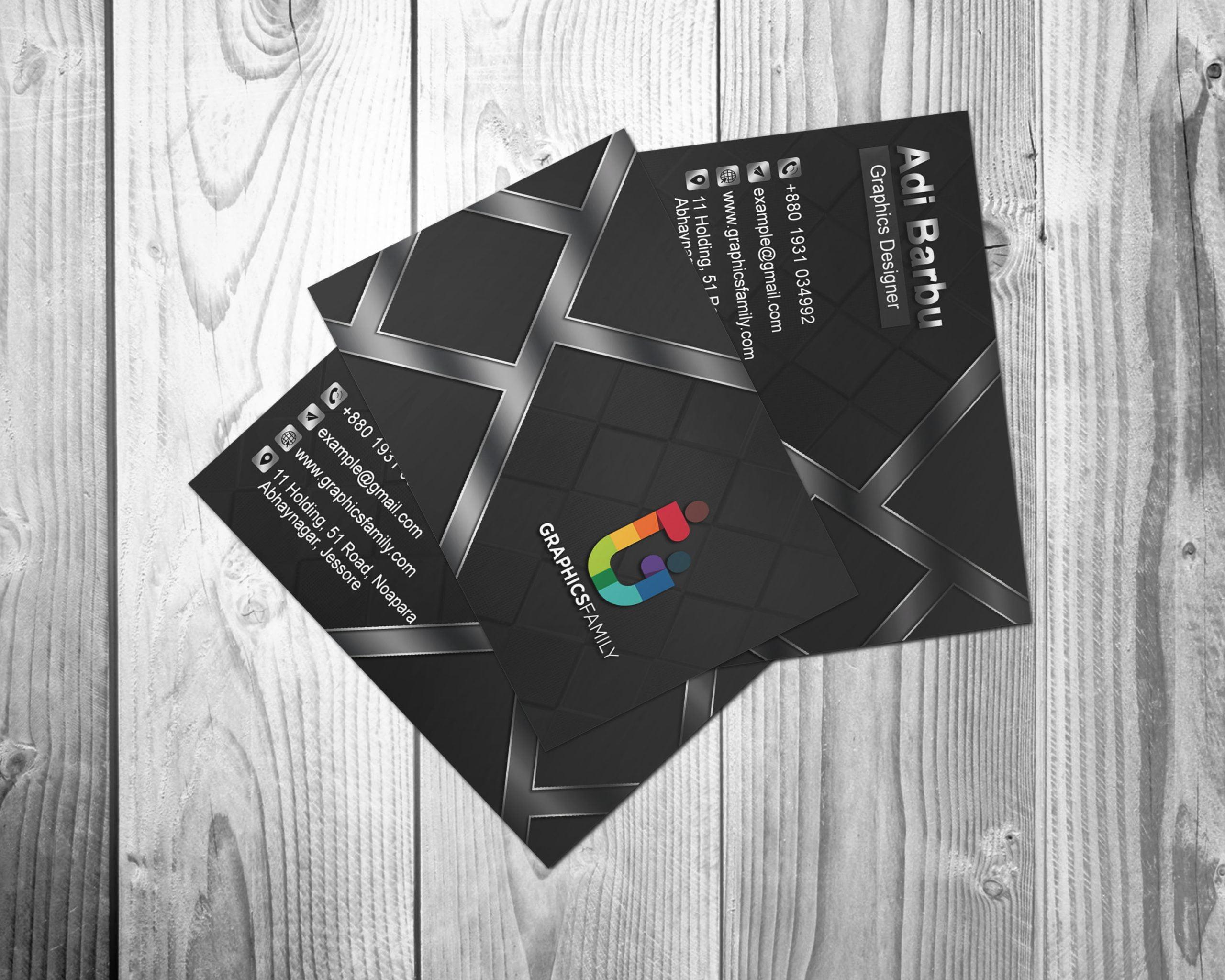 Professional Dark Business Card Design Free Download