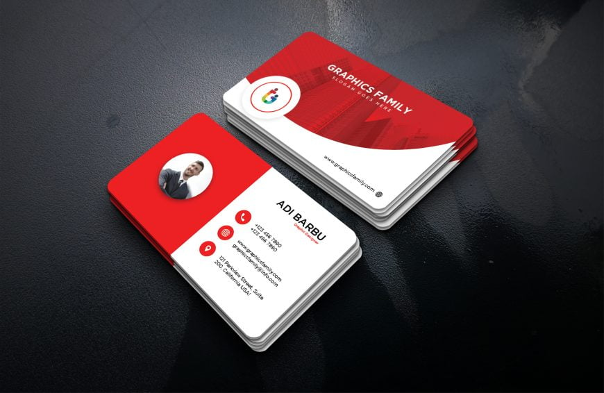Red visiting card design