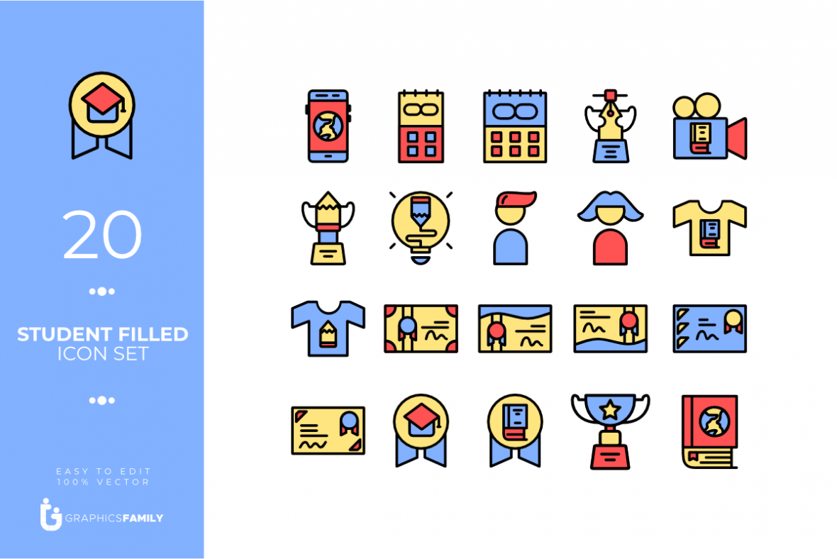 Student Filled Icon Set