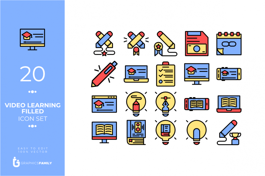Video Learning Filled Icons