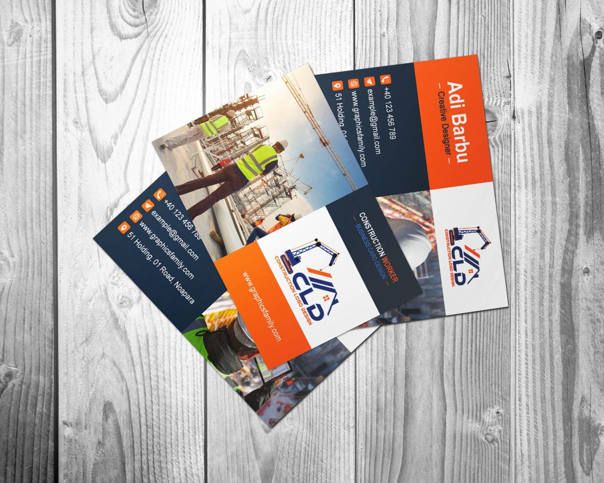 Construction Worker Business Card Design Template