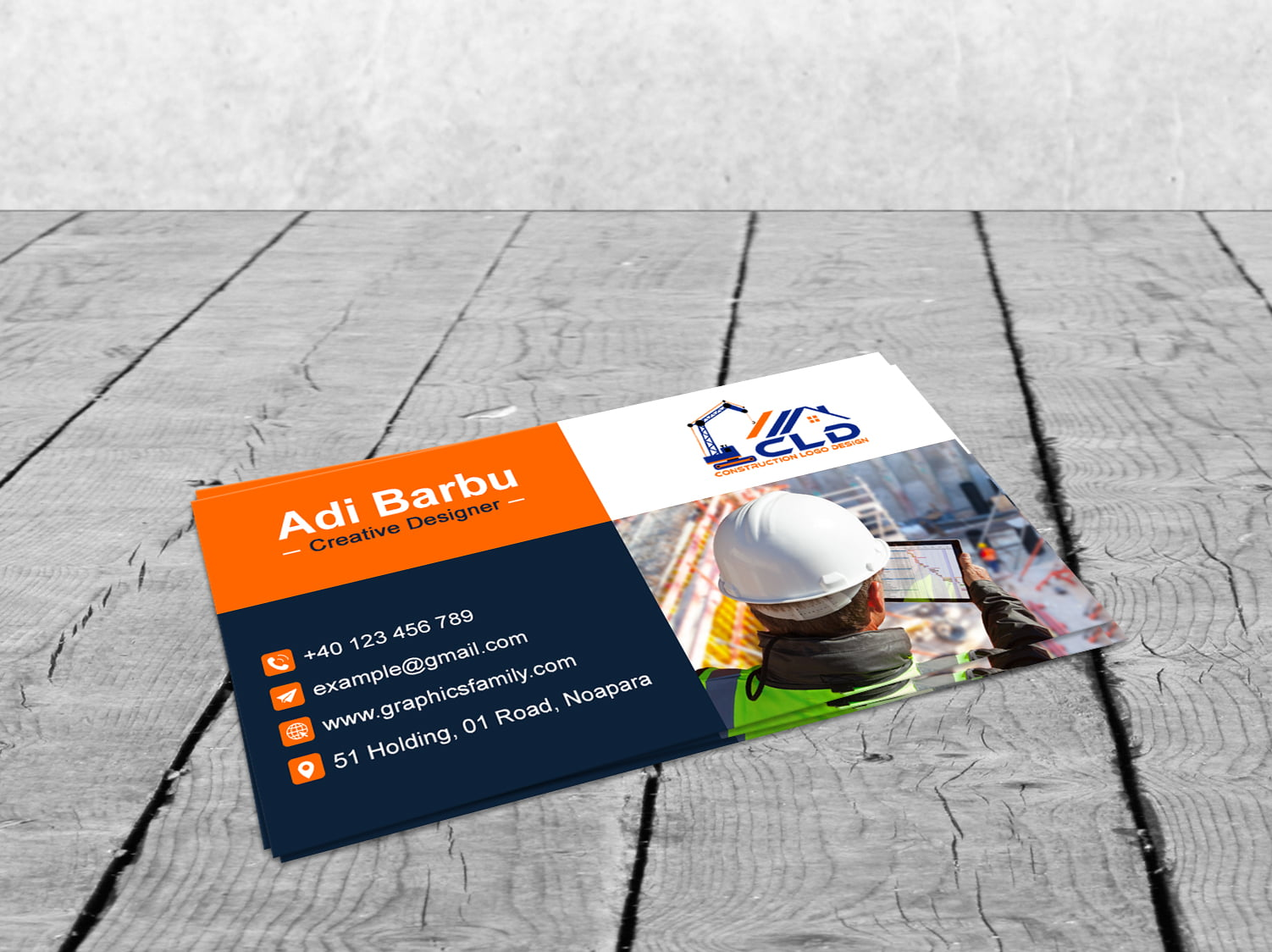 Free Construction Worker Business Card Design