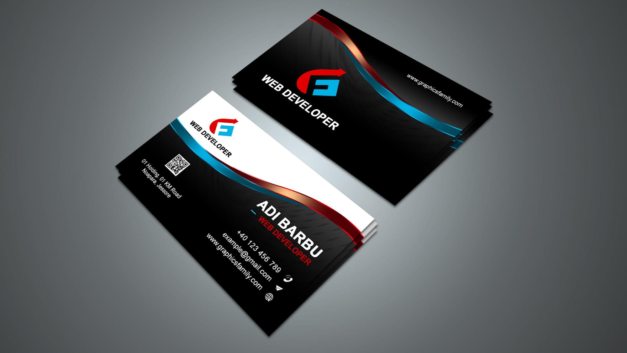Free Download Web Developer Business Card Design
