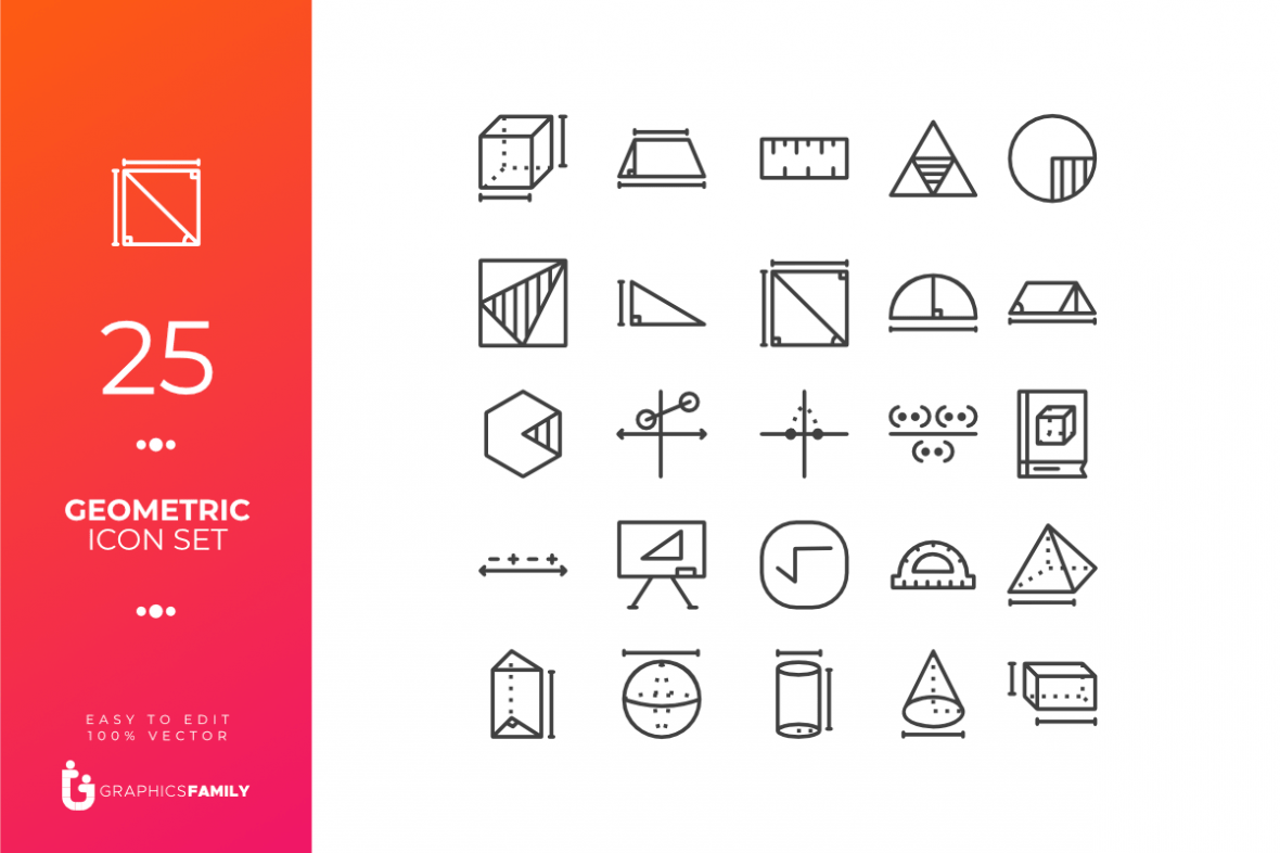 Geometric Line Icons Pack