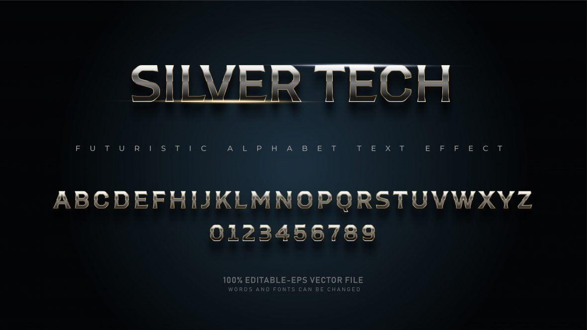 Shiny Silver Text Effect