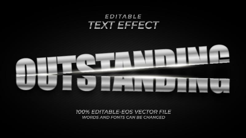 Silver Metal Cut Text Effect
