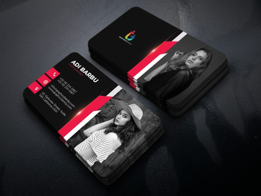Black and Red Photographer Business Card Template