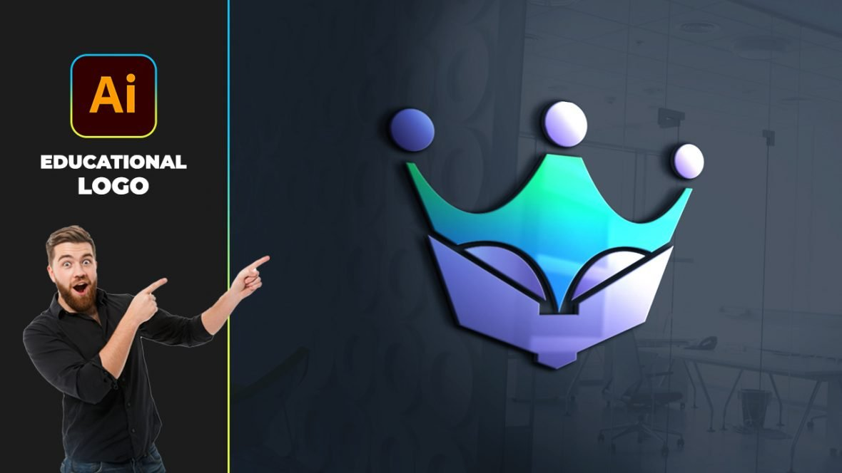 Crown Education Logo Design Vector