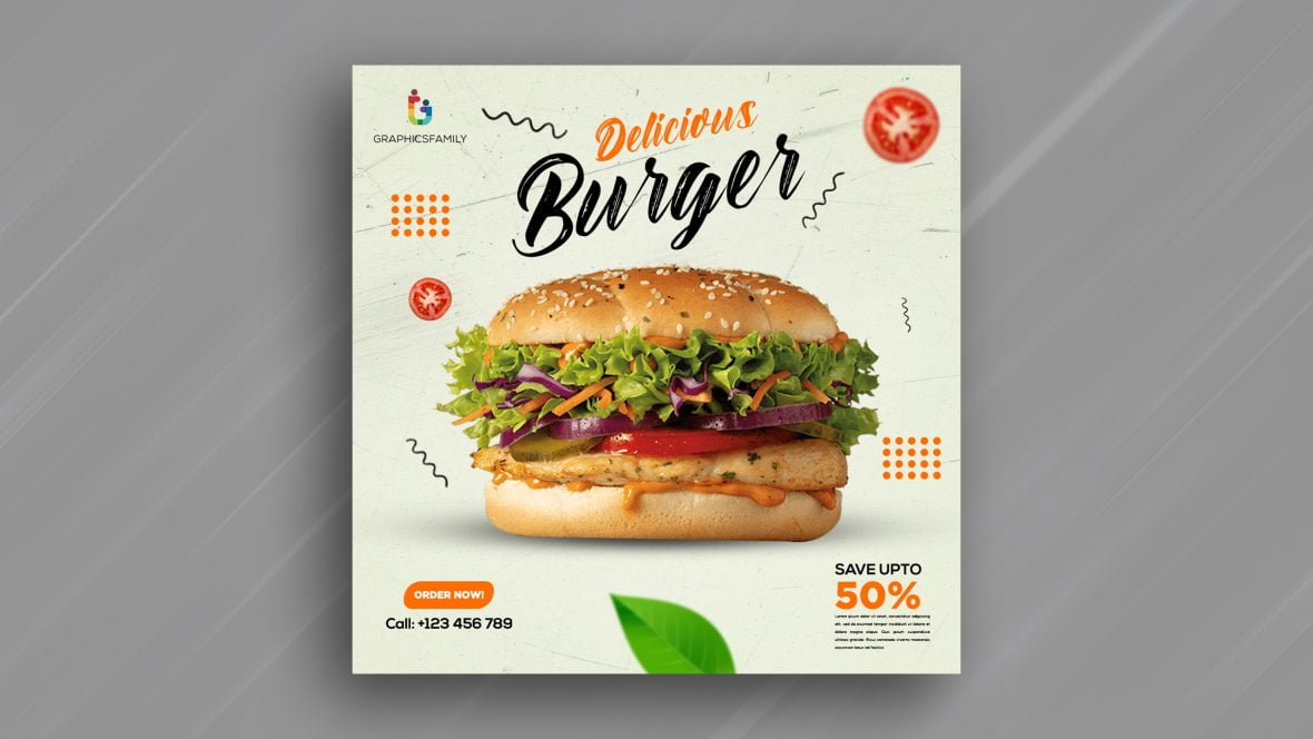 Free Burger Instagram Post Design