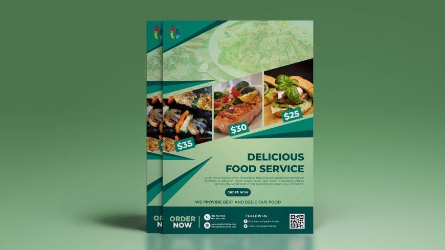 Free Restaurant Brochure Photoshop Mockup