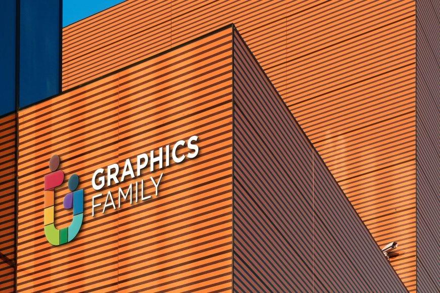 3D Colorful Business Building Logo Mockup