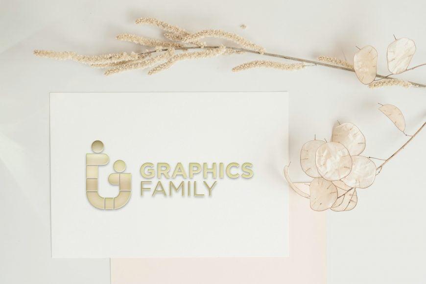 3D Embossed Golden Logo Card Mockup
