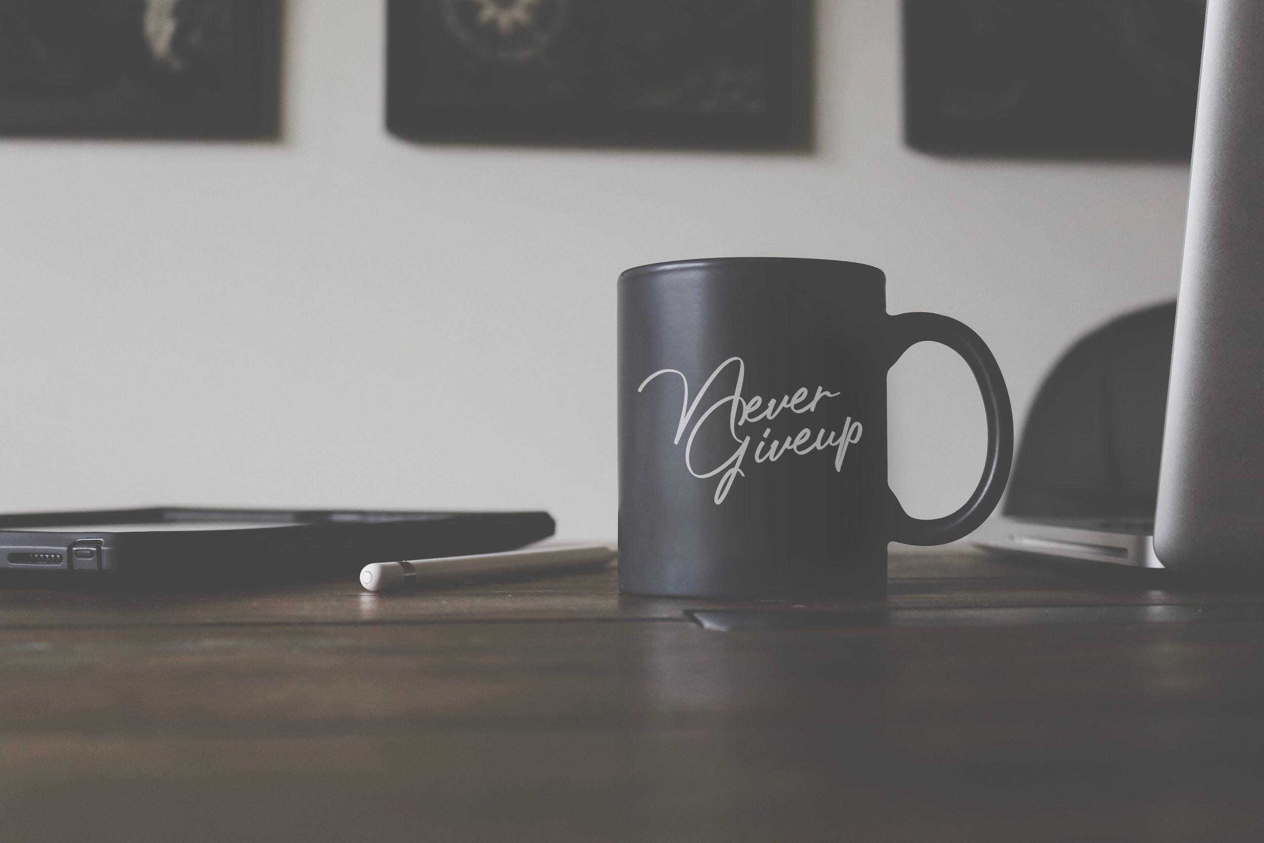 Black Matte Coffee Cup Mockup Download