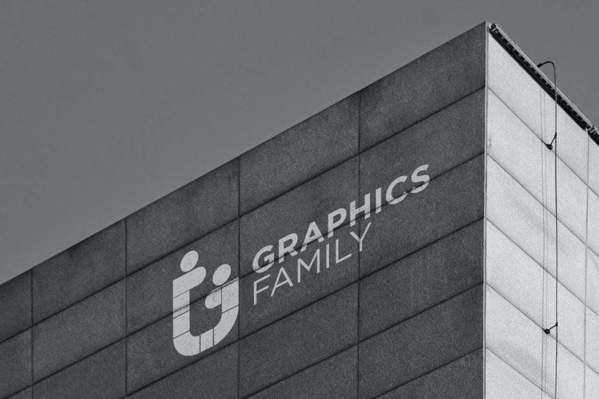 Black and White Building Logo Mockup