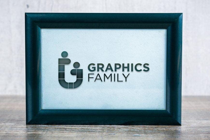 Black embossed Frame logo mockup