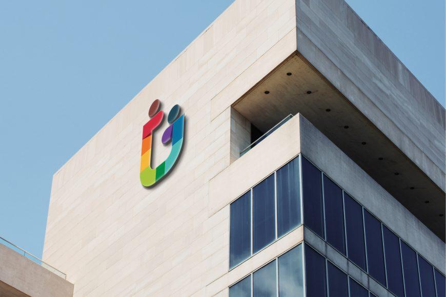 Business Building 3D Logo Mockup
