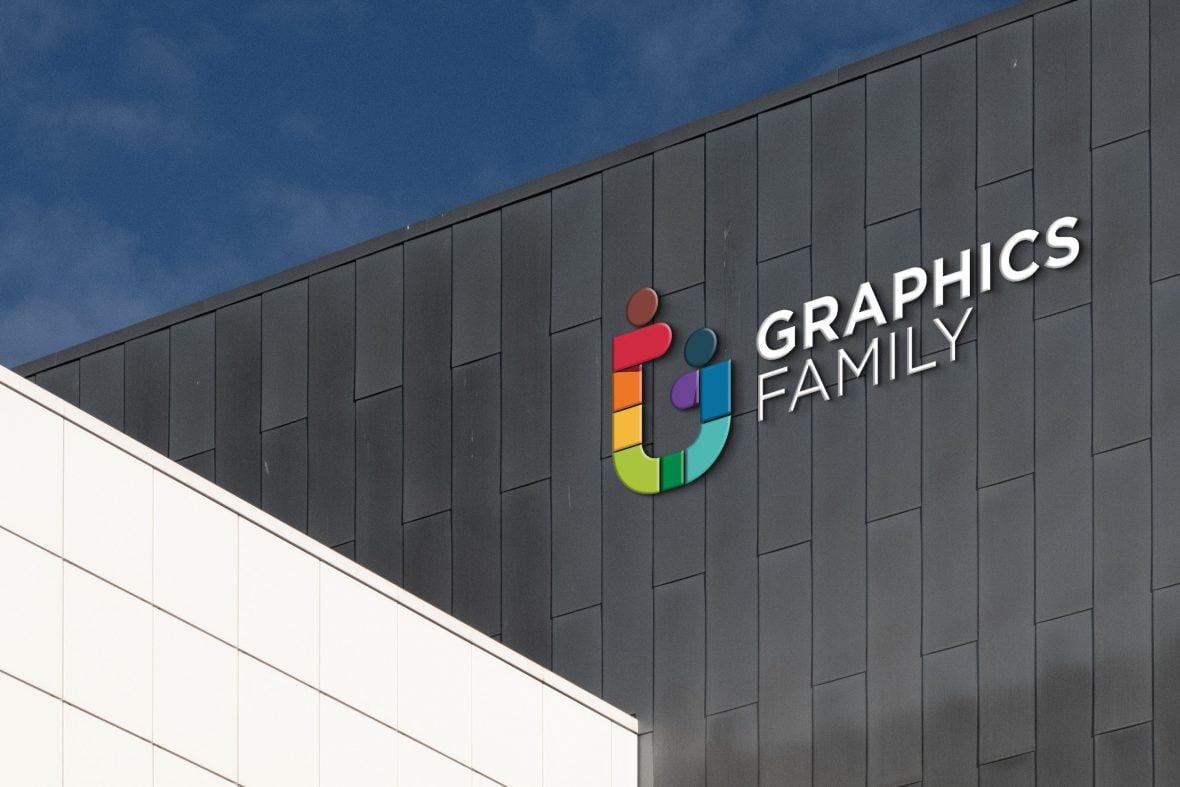 Corporate Office Building Logo Mockup