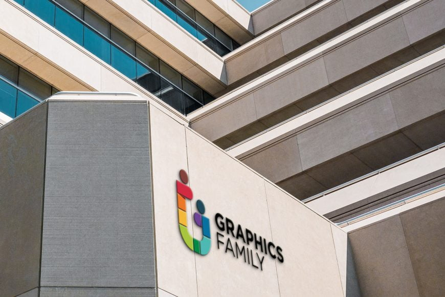 Corporative building 3D logo mockup