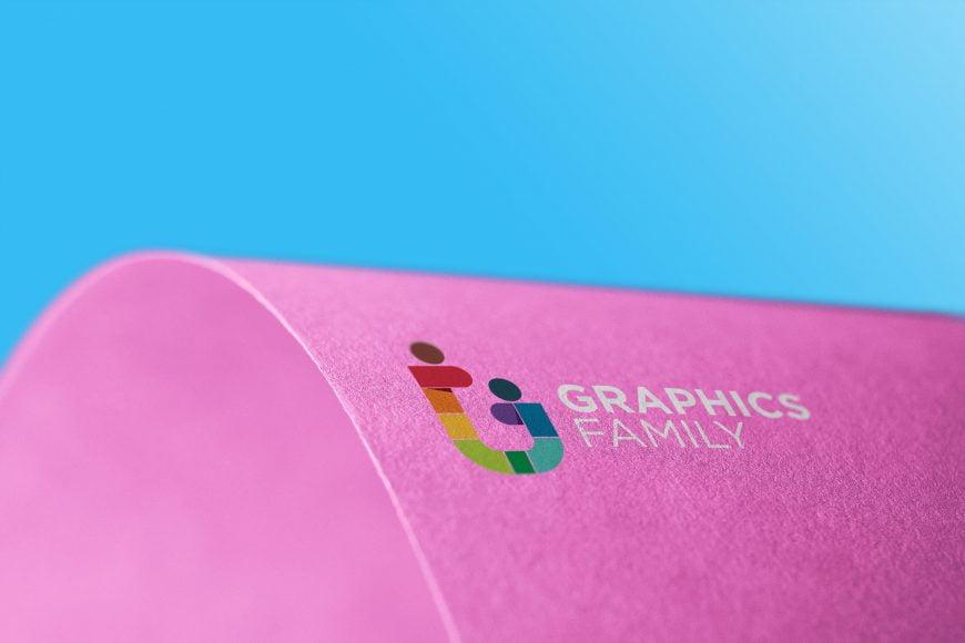 Curve Edge Colorful Paper Logo Mockup