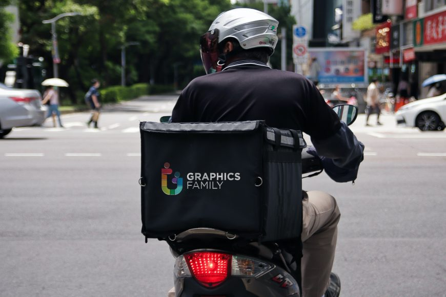 Delivery Rider Bag Logo Mockup