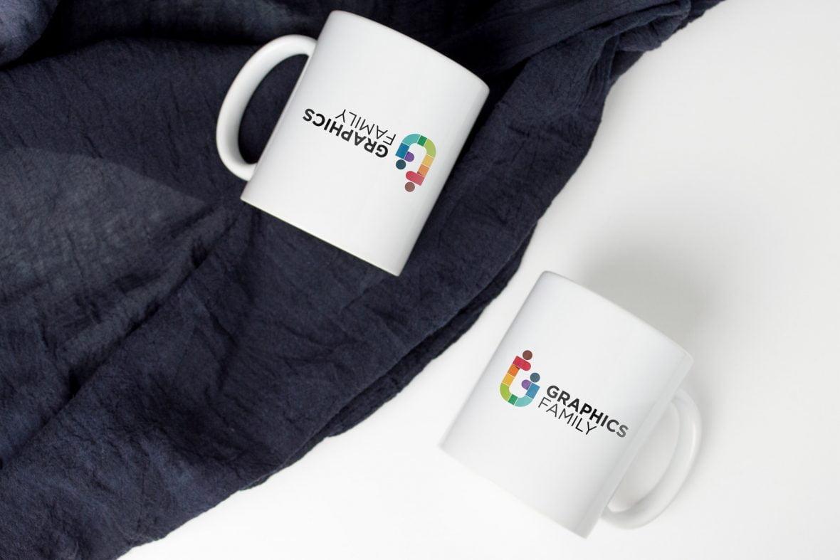 Dual Cup Logo Mockup