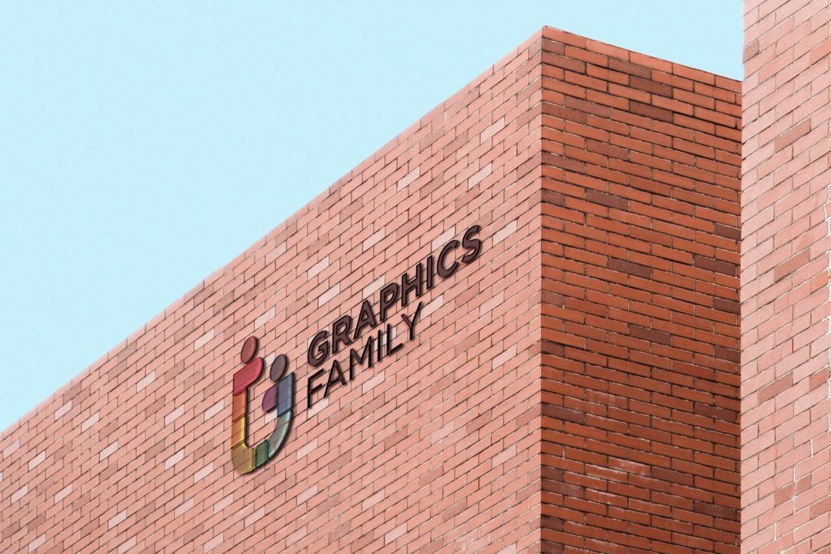 Glass Logo Brick Building Mockup