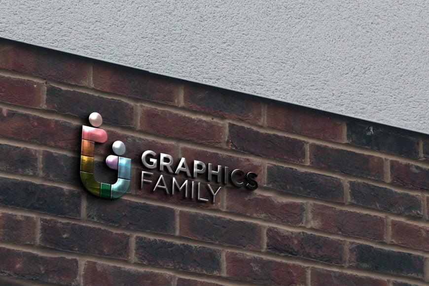 Glass Logo on Brick Wall Mockup