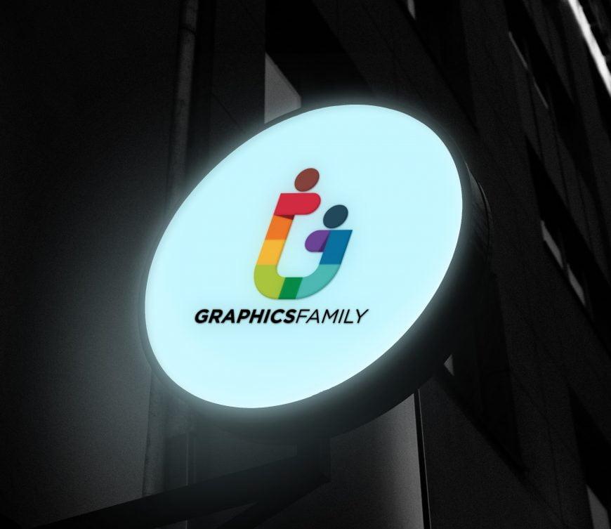 Glowing Circular Shop Sign Logo Mockup
