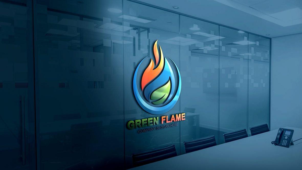 Green Flame Logo Design