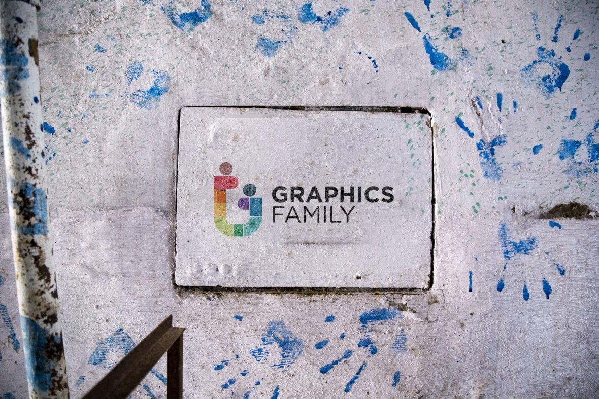 Hand Printed Wall Logo Mockup Dowload