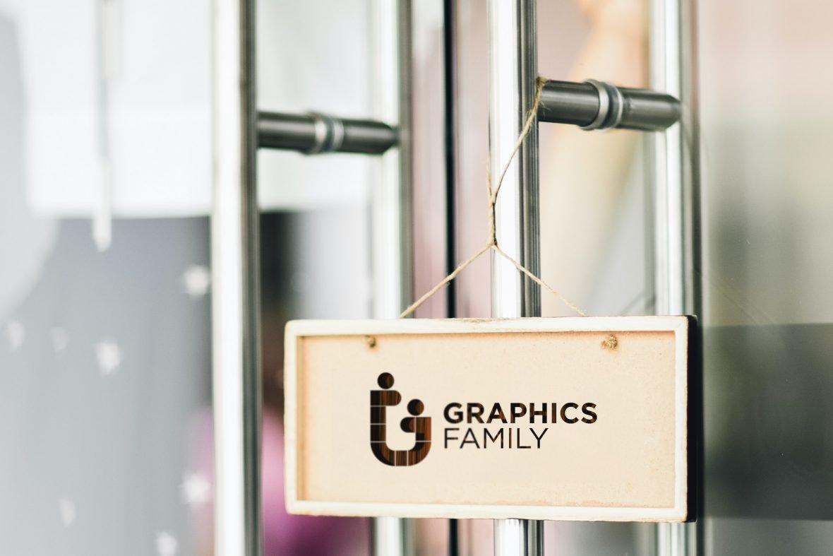 Hanging Frame Wooden Logo Mockup
