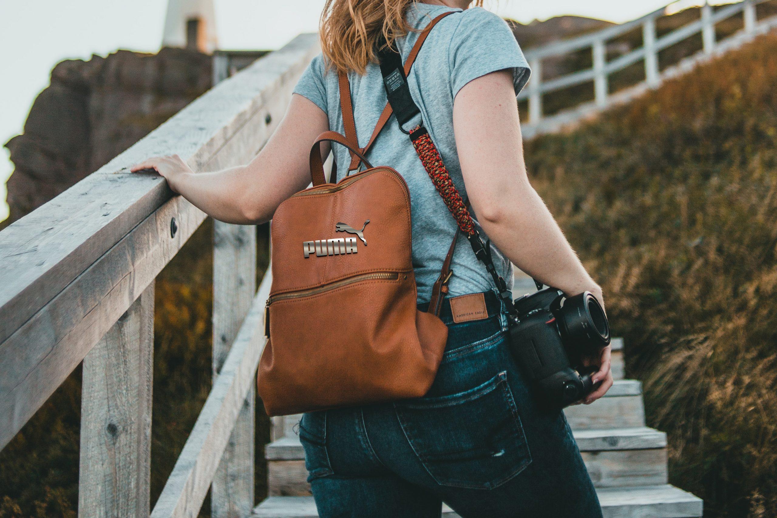 Logo Mockup on Women Leather Bag Free Download